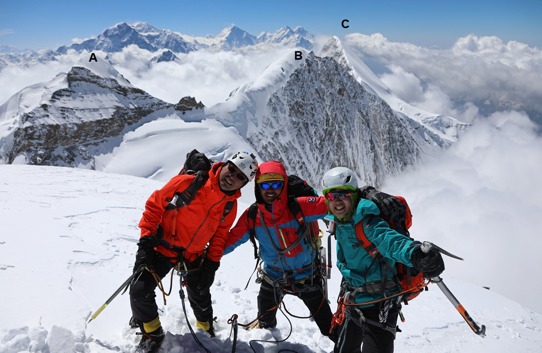 Members of the 2018 Japanese expedition on the summit of Pankar Himal after the first ascent. (A) Saula (6,235m). (B) Saula South (6,199m). (C) Peak 6,224m. Behind lie Chamar and the big peaks of the Ganesh Range.