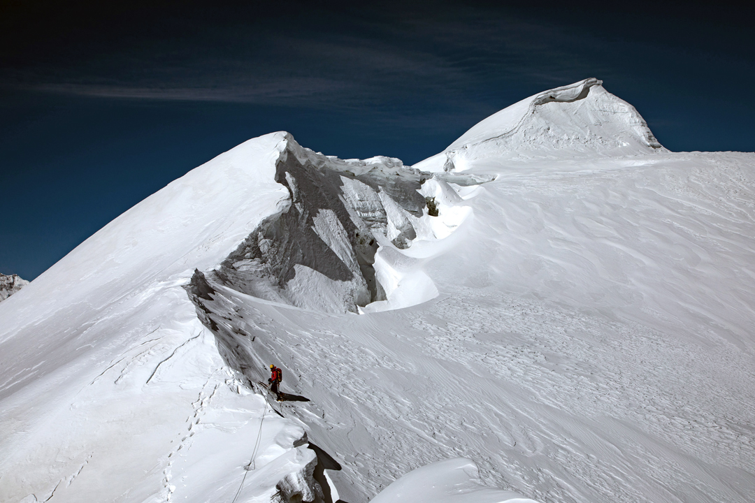 On the final ascent up the northeast (frontier) ridge to the summit of Pankar Himal (6,264m).