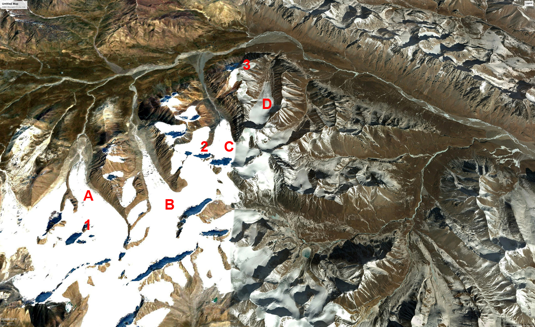 Mountains of the Mekong headwaters visited in July 2018. (A) Fox Glacier. (B) Sunshine Glacier. (C) Glacier 2. (D) Desolation Glacier. (1) Ben Jai Ma. (2) Constellation Peak. (3) Deception Peak. The meeting point of two rivers on the far right edge of the image is just above the bridge over the An yang qong chu River.