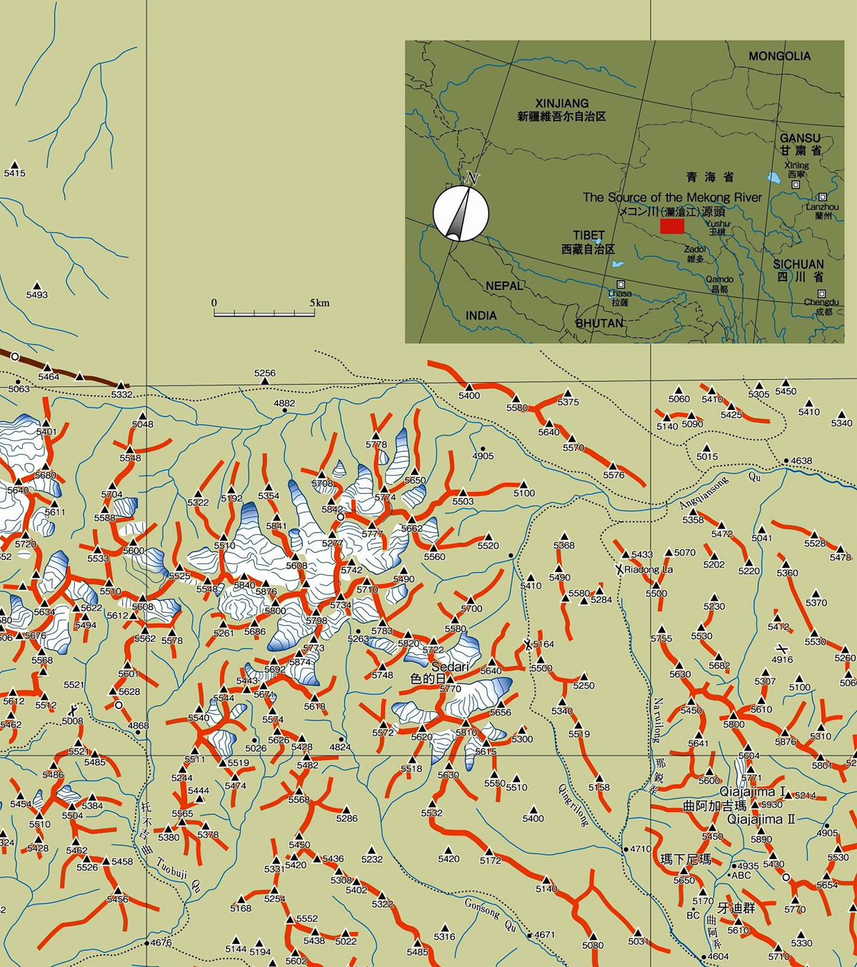 Tom Nakamura's sketch map of the mountains of the Mekong headwaters.