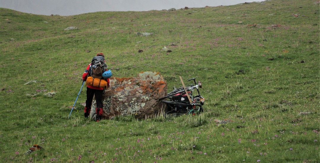 The bike cache at 4,800 meters.