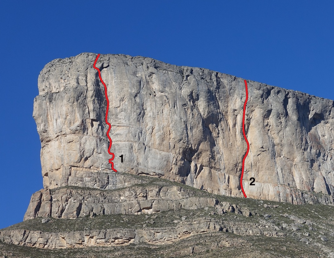 The east face of La Popa, showing (1) Super Blood Wolf (275m, 5.11) and (2) El Gavilan (9 pitches, 5.13a). Spanish Harlem (11 pitches, 5.11+ A0), the other route on the formation, ascends the left skyline.