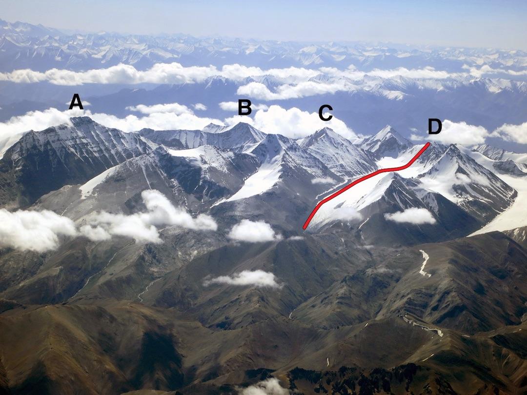 The Kang Yatse group, looking east-southeast in July 2015. (A) Kang Yatse. (B) Dzo Jongo. (C) Ibtsi Kangri. (D) Shan Ri, showing the route of ascent.