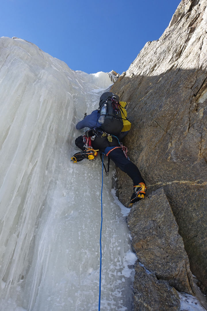 Aivaras Sajus leads the second pitch of the longest stretch of solid ice on Samsāra, just above Camp 2 at about 5,900m.