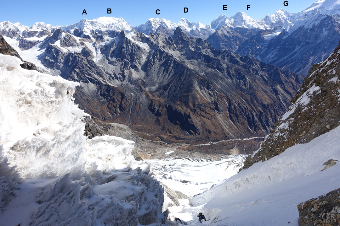 Aivaras Sajus on the lower part of the east face of Sharphu II above the Nupchu Khola valley. In the background are (A) Janak (7,041m); (B) Jongsang (7,462m); (C) Drohmo (6,881m); (D) Pathibara Chuli (7,140m); (E) Kirat Chuli (7,362m); (F) Nepal Peak (7,177m); (G) Gimmigela Chuli (7,350m); and the north face of Kangchenjunga rising out of the picture.
