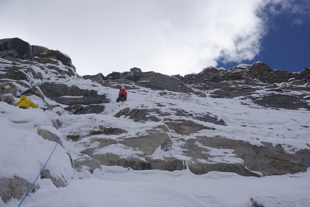 Yusuke Sato on the headwall of Cerro Kishtwar during day two of the ascent of the northeast face.