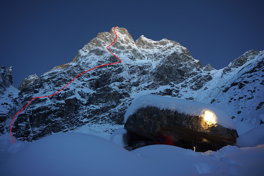 The rock cave shelter on the way out to base camp from the northeast face of Cerro Kishtwar, and the line of Aal Izz Well.