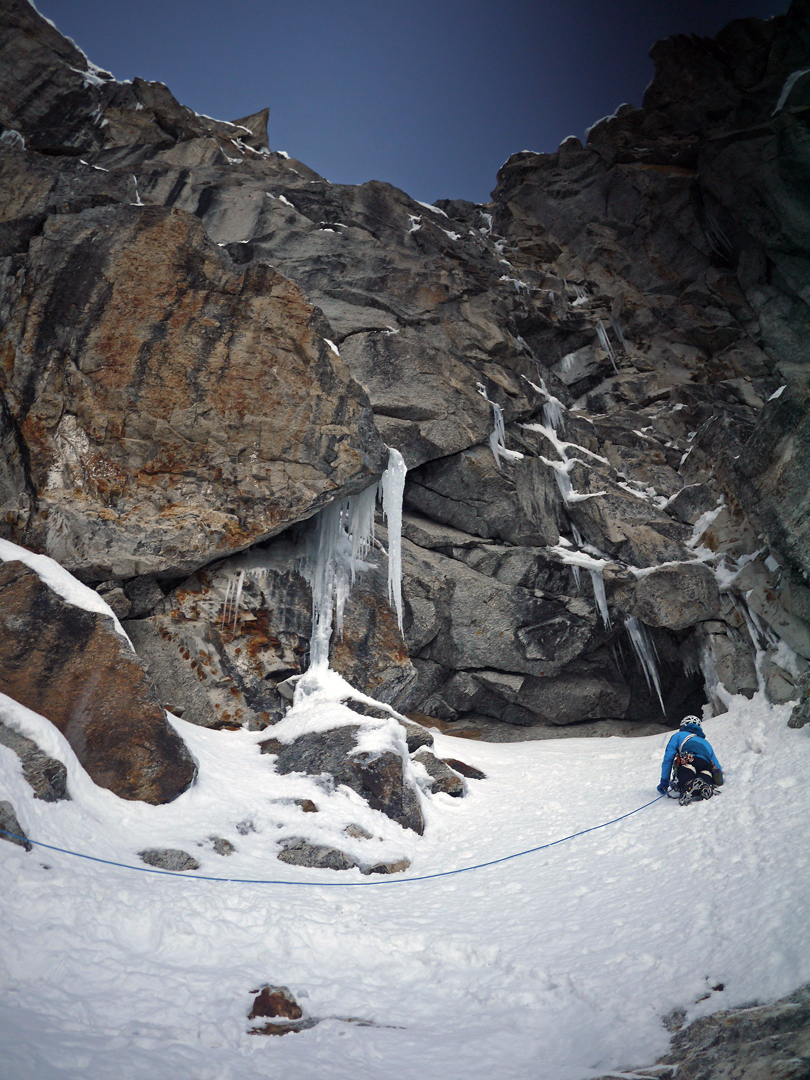 Genki Narumi approaching a difficult mixed pitch on the northeast face of Cerro Kishtwar.