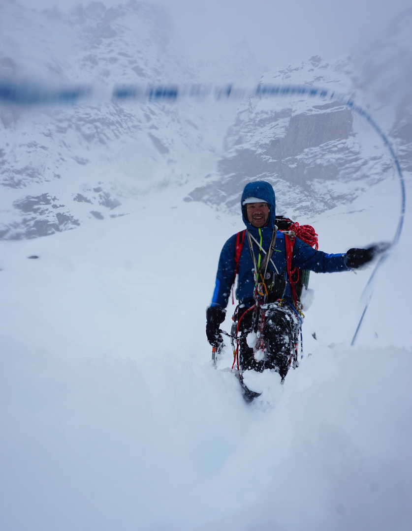 Genki Narumi makes the long wade out to base camp after the first ascent of the northeast face of Cerro Kishtwar.