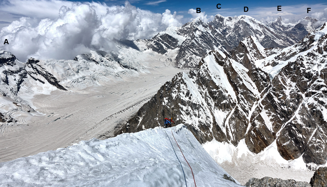 Malcolm Bass and Paul Figg on the south-southwest ridge of Janhukot during day three of the ascent. Below is the Gangotri Glacier, while behind are (A) Mandani Parvat (6,193m), (B) Kharchakund (6,612m), (C) Kedarnath (6,940m), (D) Kedar Dome (6,831m), (E) Thalay Sagar (6,904m), and (F) Meru (6,660m).