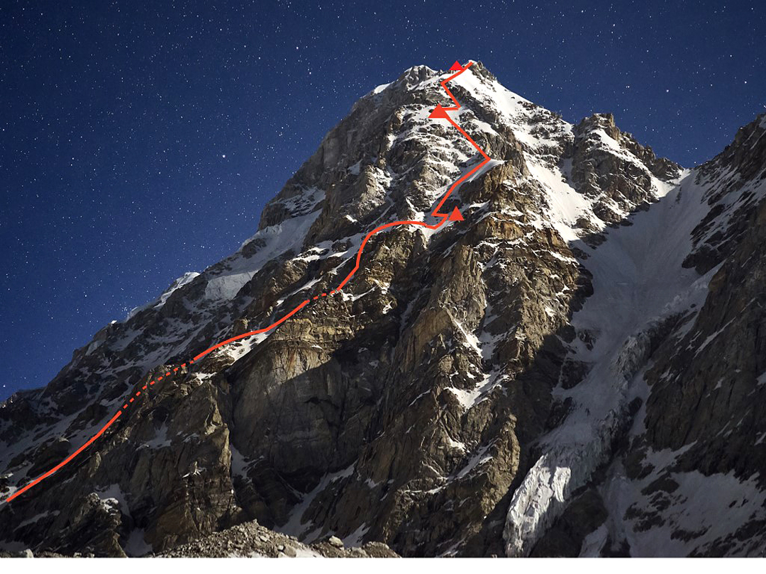 Night view of the southwest buttress of Janhukot (1,700m, ED1 Scottish IV) with the three camps shown. The upper south-southwest ridge is much foreshortened and partially hidden in this view.