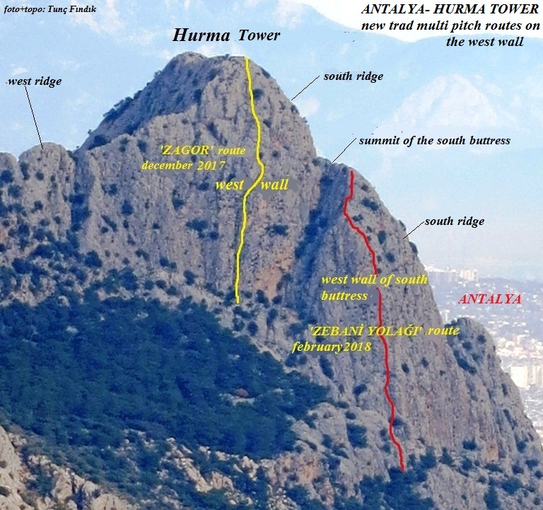 Rout4s on the west face of Hurma Tower.
