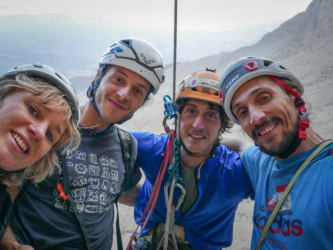 The team, left to right: Arianna Colliard, Stefano Caligiore, Matteo Della Bordella, and Simone Pedeferri.