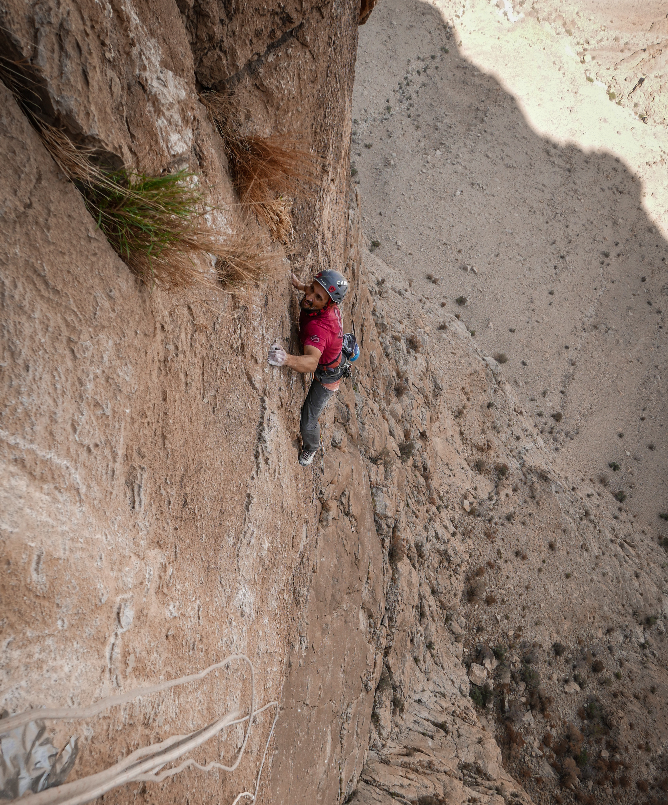 Simone Pedeferri attempting to redpoint the fourth and crux pitch (8a) of Vacanze (R)omane.