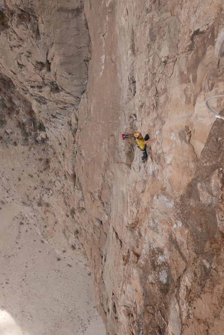 Matteo Della Bordella attempting to redpoint the crux pitch (8a) of Vacanze R(Omane).