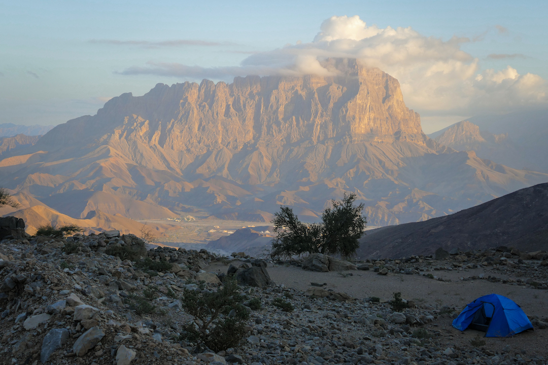 Omani landscape with a view of the south face of Jebel Misht.