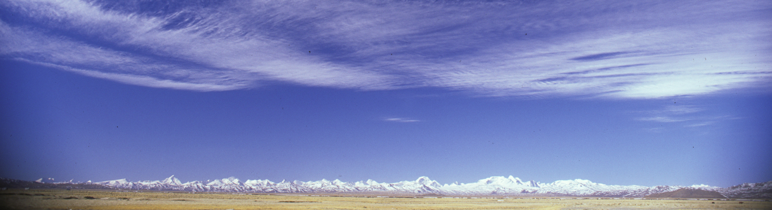 View south from the Tibetan Pleateau to the frontier with Nepal, spanning from Dolpo (left) to Chandi Himal.