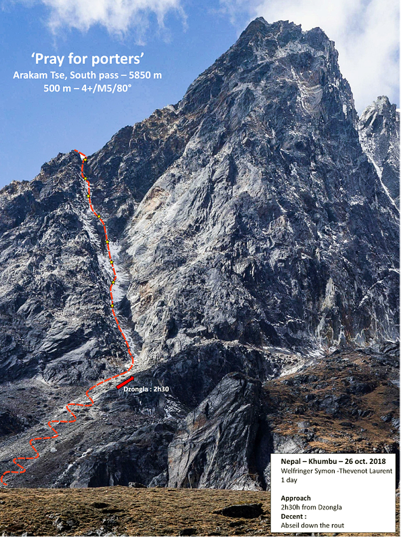 The east side of Arakam Tse and line of Pray for Porters. The route reached the col south of Arakam Tse without continuing toward the summit.