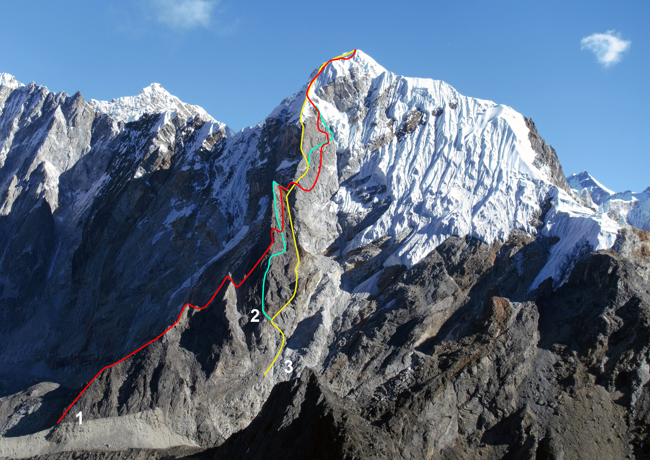 The southwest pillar of Lobuche East (6,090m), showing (1) Hiding in Plain Sight (2017), probably similar to the 1995 Spanish route; (2) 2018 French route, Le Quatuor à Cordes. (3) 1991 American-Nepalese Route. The normal route up the southeast ridge follows the right skyline, though most parties stop at the foresummit (first confirmed ascent in 1984 by American-Nepalese team, though possibly Japanese in 1979).