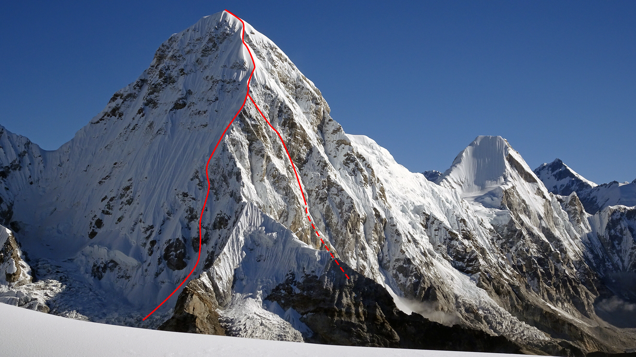 Pumori from the southwest showing the 2018 Romanian ascent (right) on the southeast face and their descent of the southwest ridge and west face. Where the two lines meet is the site of their highest bivouac.