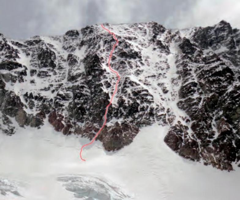 The line of Cascadas del Viento on the southeast face of Cerro Vallecitos.