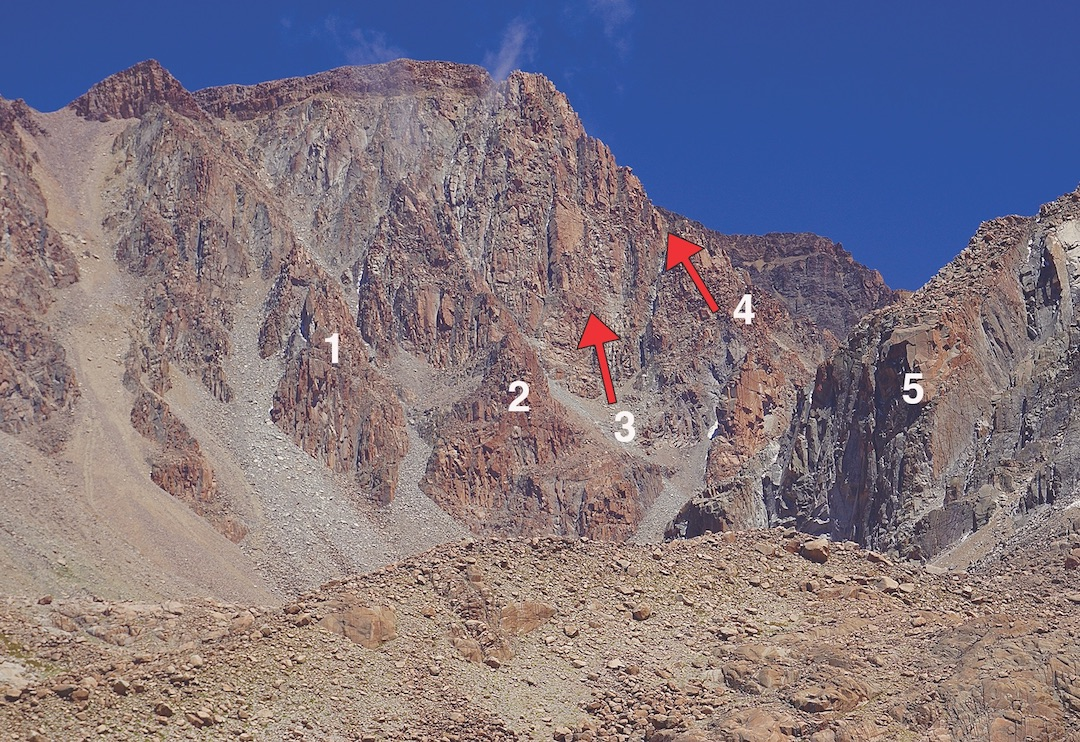 East side of Pico Nordenskiöld, showing approximate locations of (1) Aguja Marco Andrés, (2) Aguja Iñaki Coussirat, (3) Escudo de la Puna, (4) Providencia, and (5) El Viejo. Other routes are not shown.