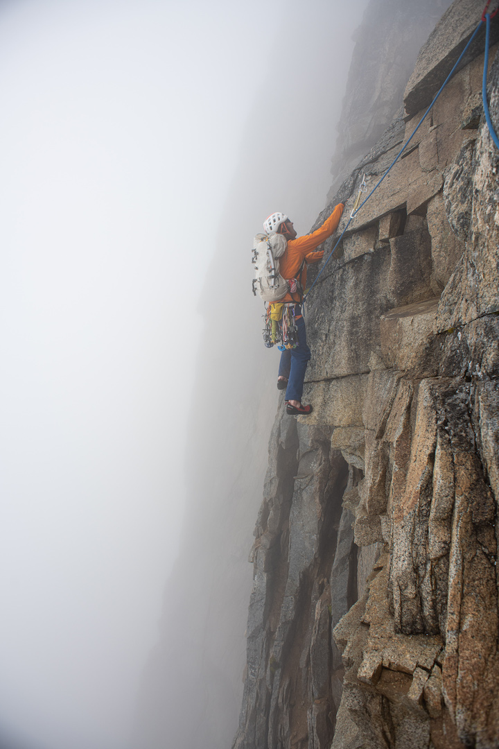 Forest McBrian probes some free-floating Jenga blocks on pitch eight of Klone Kalitan as he works to unlock one of the two ridge traverses linking the better climbing on the towers' arêtes.