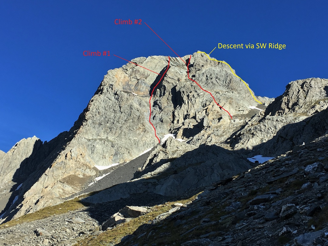 """The west face of Mt. Glenisla showing two new routes climbed on the same day in December 2017 by Ben Dare. The one on the left is described in the text; the right-hand route was """"more of a scramble."""""""
