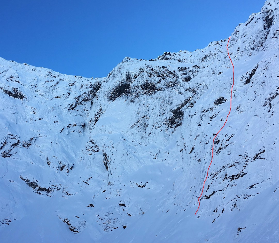 Elysium (750m, VI, 6+ (AI5) on the south face of Mt. Suter.