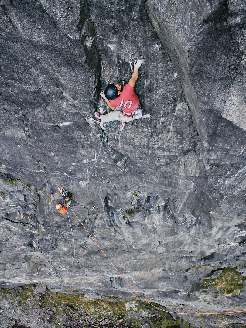 Wiz Fineron leading the crux ninth pitch of Te Hamo (11 pitches, 31/5.13d), a new route on the Sinbad Gully Wall in the Darran Mountains.
