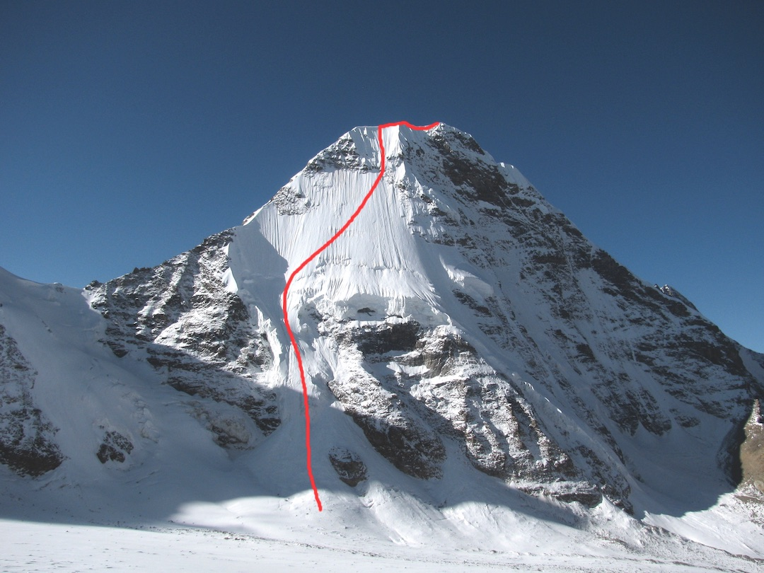 """Peak 1,"" showing the first ascent by the north face."