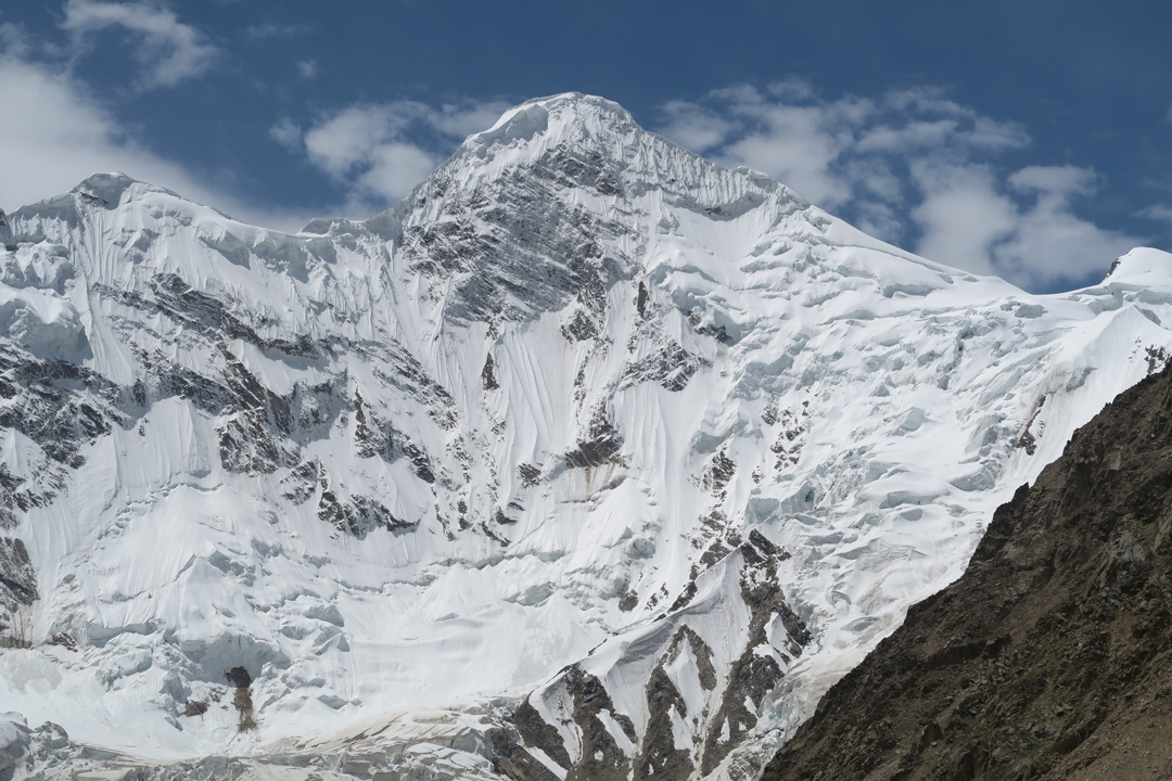The north face of unclimbed Khurdopin Sar (6,310m) above the Spregh Yaz Glacier, a southern offshoot of the Virjerab Glacier.