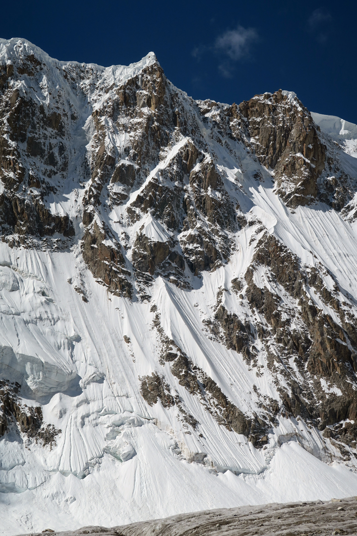 An unnamed 6,000m top on the southern rim of the First West Virjerab Glacier, to the west of Peak 6,315m.