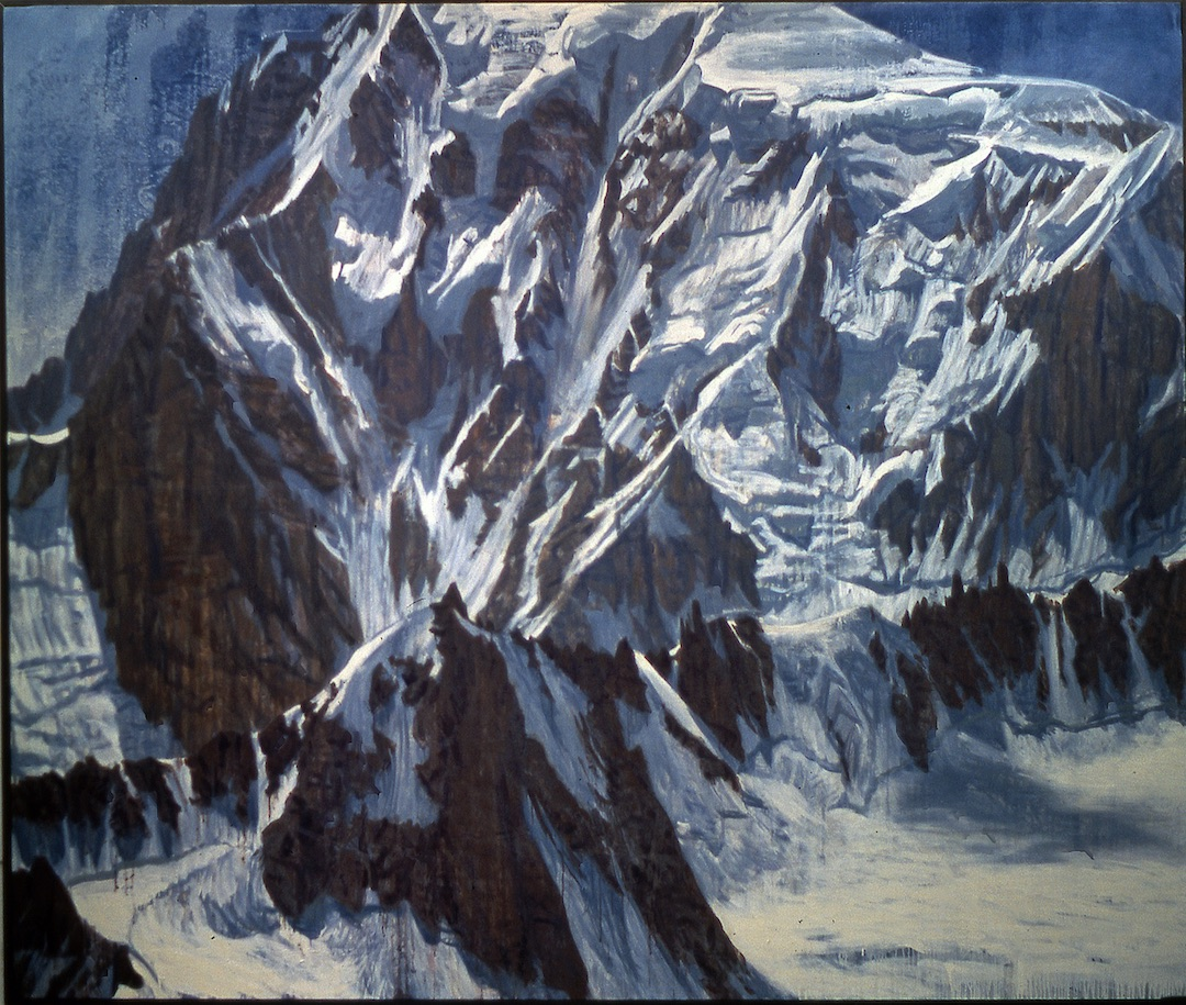 "The ice-draped faces of the Mont Blanc massif have lured alpinists for generations. But as ice melts, scientists are detecting great instability in formations like the Tour Ronde and Kuffner Arête (foreground center and right), changing the formula for some classic climbs and eliminating others entirely. Painting: ""The Brenva Face, Mont Blanc,"" 1998, by Julian Cooper; collection Reinhold Messner."