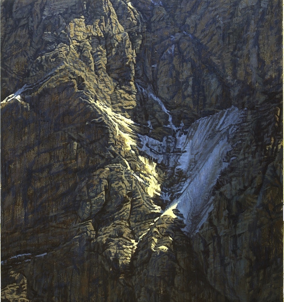 "The Eiger's north face, once climbed almost exclusively in summer, is now desiccated and dangerous in the warmer months. Painting: ""The White Spider,"" 2004, by Julian Cooper, collection Reinhold Messner."
