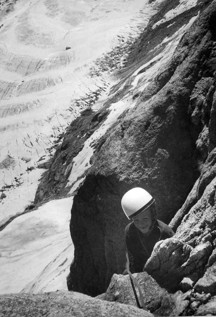 John Harlin III climbing above the Mer de Glace in the Alps at age 7.