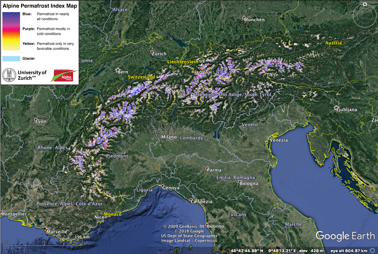 Screen shot of the Alpine Permafrost Index Map, documenting extensive permafrost in the Alpine regions of Europe. Information about the map and a .kmz file to access the map on Google Earth can be found at https://www.geo.uzh.ch/microsite/cryodata/PF_map_explanation.html.