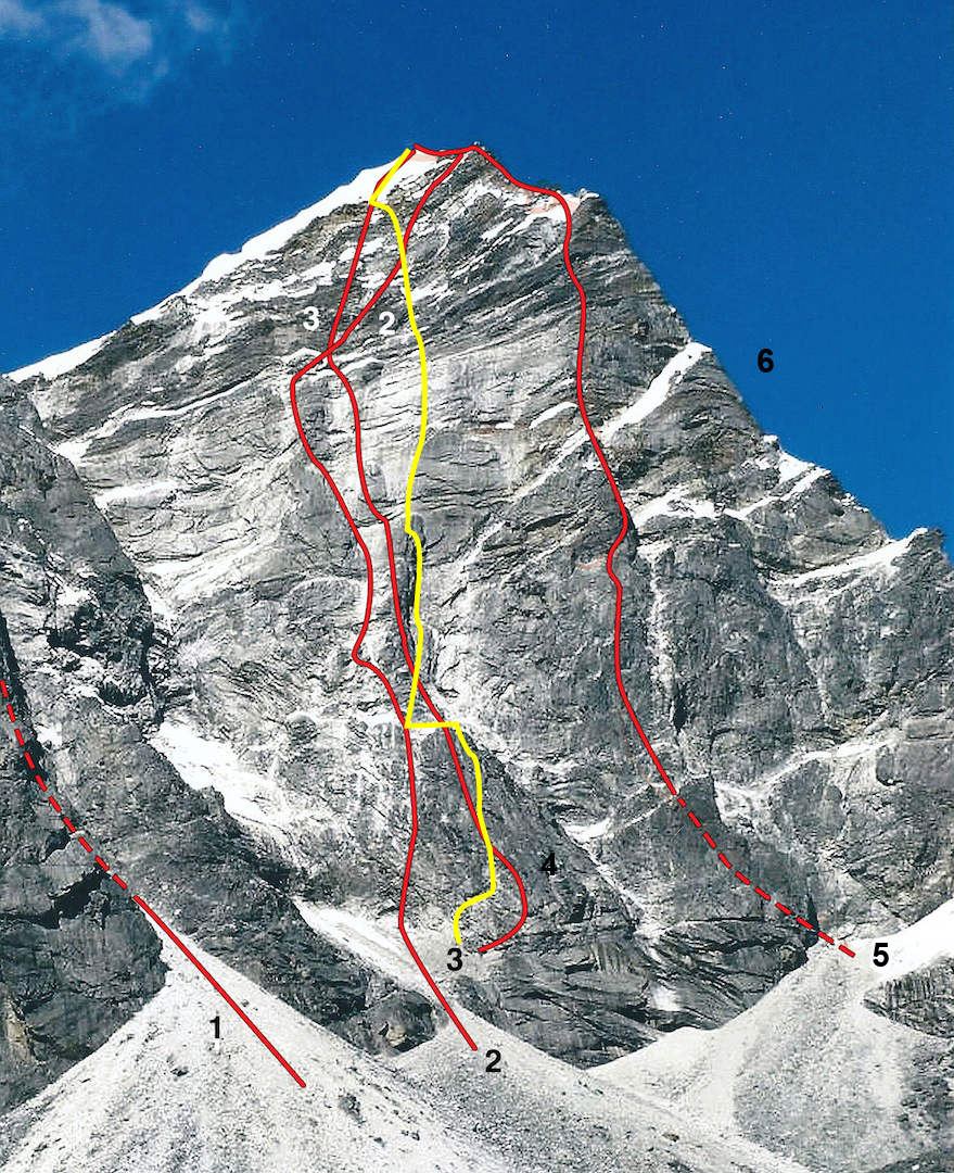 The 900m east face of Lobuche East. (1) East Face Couloir (Kendall-Lowe, 1986). (2) Korean Route (Kim-Lee-Park, 1992). (3) The Golden Friends (1994). (4) Ave Maria (Coubal-Coubal, 1990). (5) Two Arrows Flight (Kilichenko-Perevalov-Pobebeghnyi- Vasenkov, 2014). (6) East ridge (Bibler-Freer, 1984).