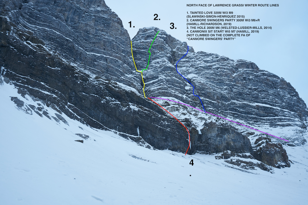 The north face of Mt. Lawrence Grassi, showing (1, yellow line) Tainted Love (Henriquez-Simon-Slawinski, 2015) and (2, green line) Canmore Swingers Party (300m, WI3 M6+ R). The final ascent of Canmore Swingers Party in May 2019, by Niall Hamill and Ryan Richardson, began with two pitches of Tainted Love. Route 3 (blue) is the Hole (Lussier-Mills-Welsted, 2014). Route 4 (red) is Canomix Sit Start (Hamill-Skea, 2019).