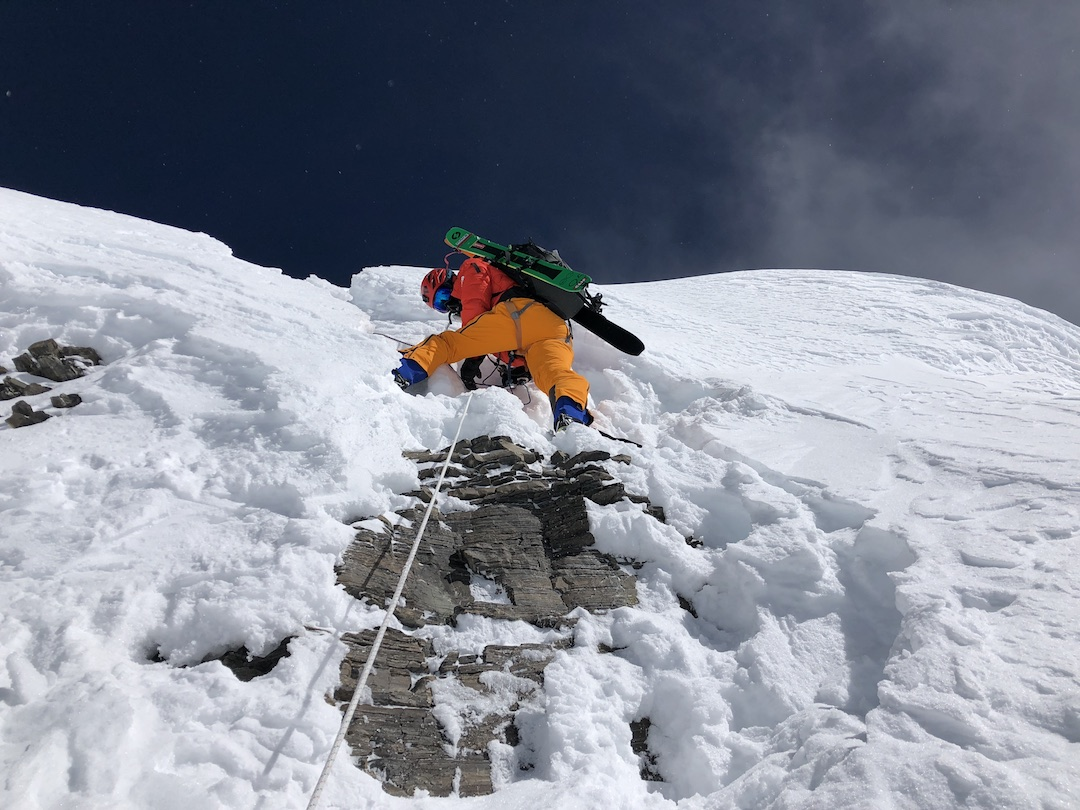 Deep post-monsoon snow mostly covered the summit cliffs on Lhotse, allowing a ski descent from the very top.
