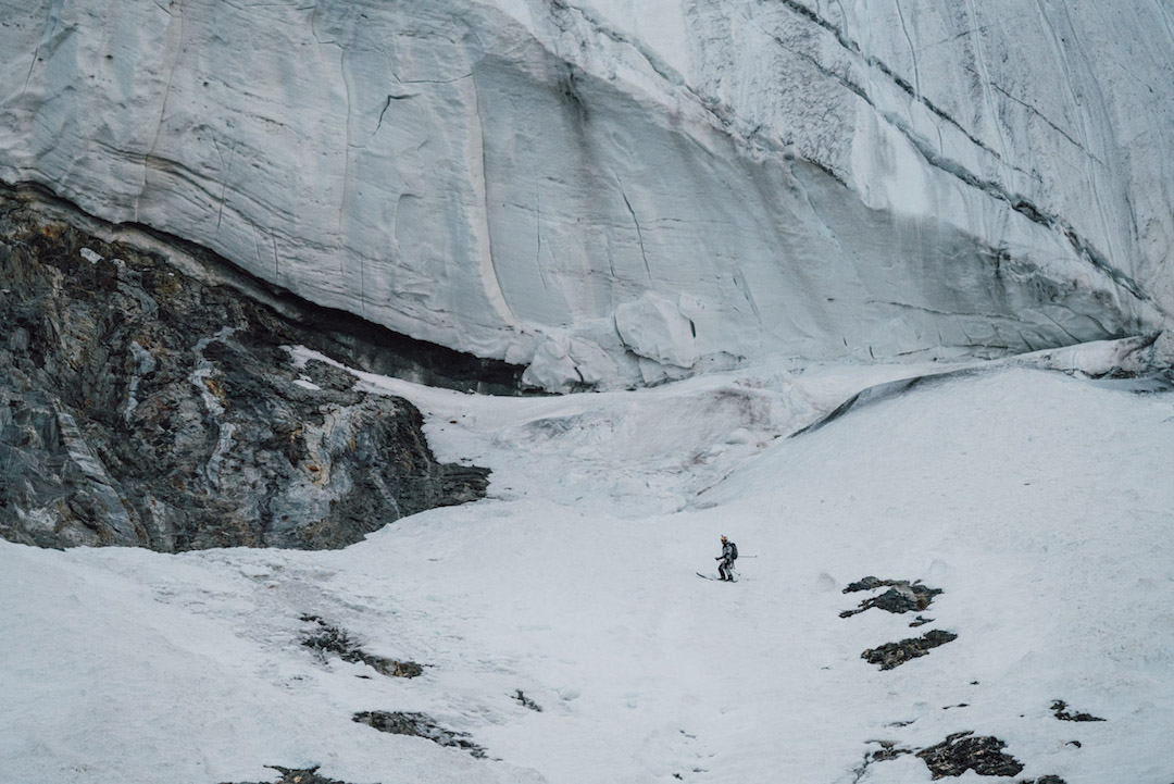 Traversing below the giant serac band at around 6,800 meters.