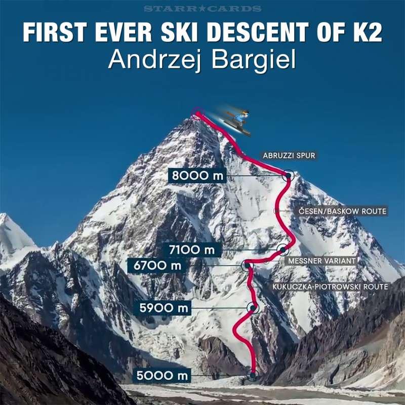 Photo diagram of Bargiel's route down K2.