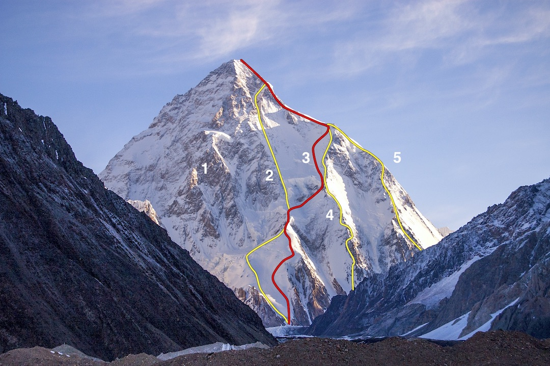 K2 from Concordia to the south (June 2006 photo). The face is approximately 3,400 meters high. The red line (3) shows the route traced by Andrzej Bargiel to make the first complete ski descent of the mountain. (1) General area climbed by the Magic Line (1986). (2) Kukuczka-Piotrowski Route. (4) Cesen Route (south- southeast spur). (5) Abruzzi Ridge (continuing up the right skyline).