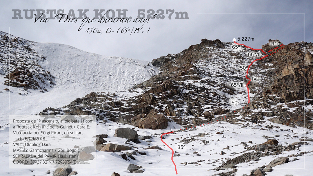 The line of Days That Will Last for Years on the east face of Rubtsak Koh (5,227m), above the Otaliok Dara (Otaliok Valley).