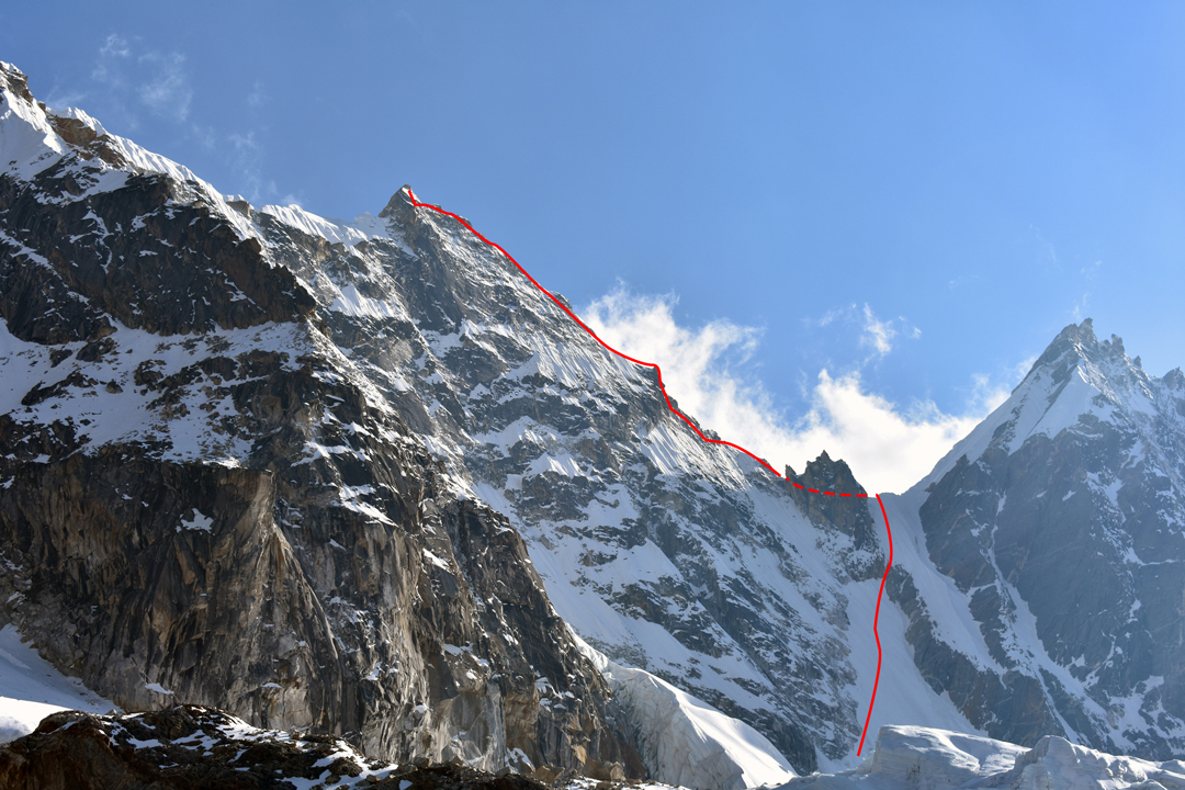 Peak 6,065m and the line of the Spanish ascent to within 10m of the summit. The peak on the right is the southeast top of Nirekha.