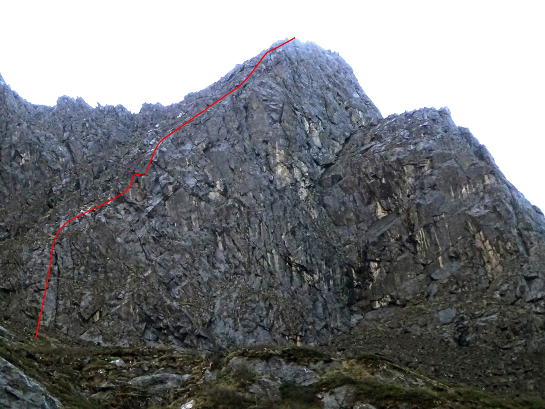 Jiyue Shan, showing the Franchini route on the north face.
