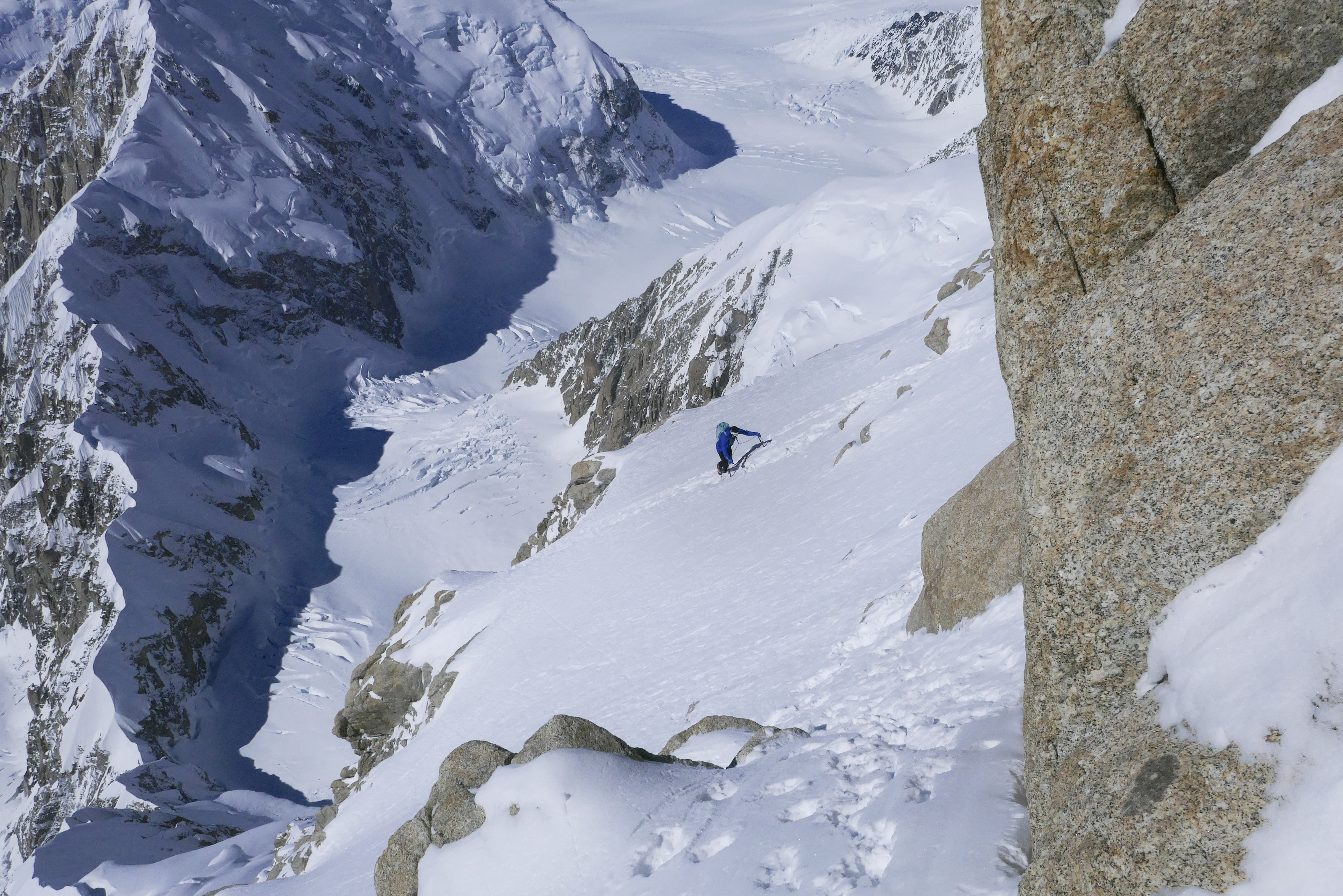 Colin Haley moving up the Cassin Ridge during his speed solo.