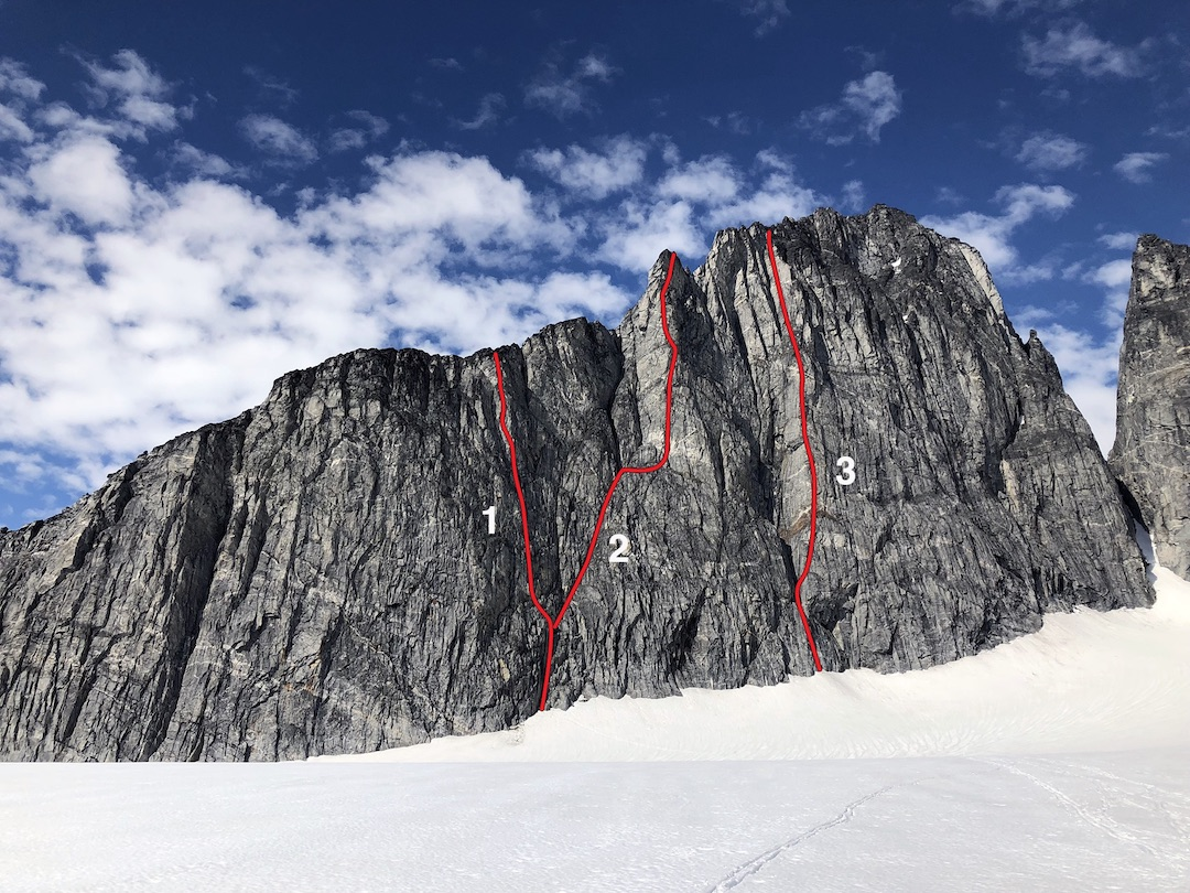 The south face of the west ridge of North Taku, showing (1) Harrington-North (5 pitches, 5.10+), (2) Solarsphere (Harrington-North, 360m, 5.12a), and (3) Sweet & Spicy (Harrington-Hayden, 360m, 5.11c).