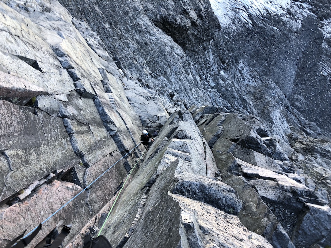 Steep featured rock on the west face of Devils Paw.