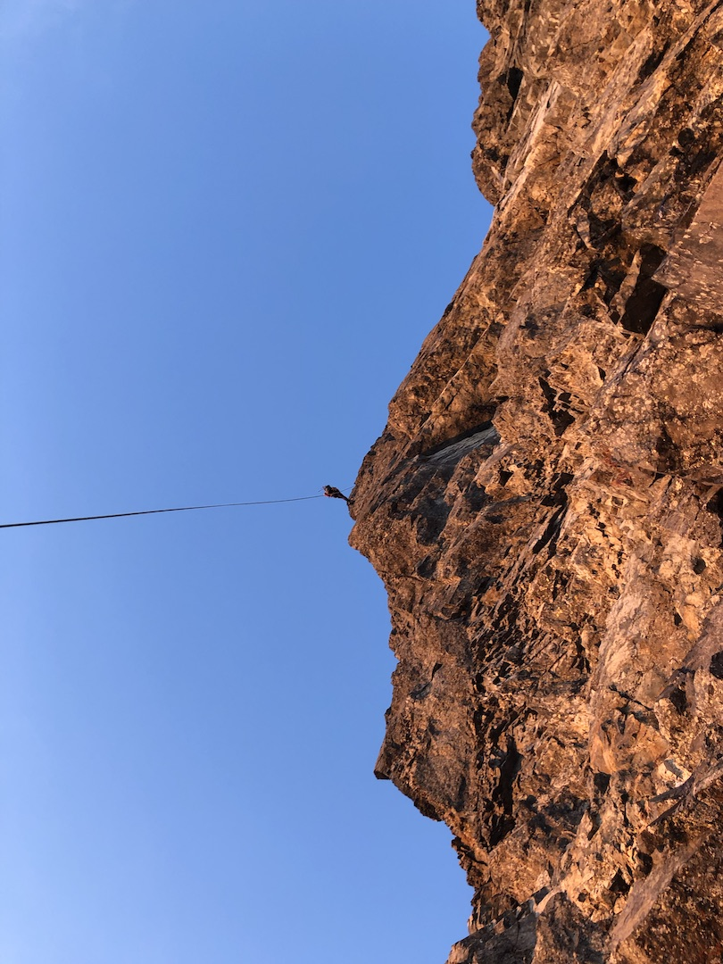 Very steep rappel off the top of Devils Paw after the first ascent of the west face.